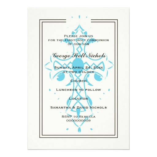 Blue Cross First Communion Baptism Confirmation Personalized Announcements