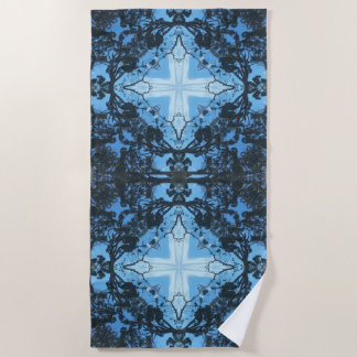 Blue Cross Nature Pattern Beach Towel