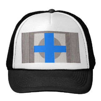 BLUE Cross Sparkle White Crystal Beads Gifts chr Trucker Hats