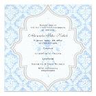 Blue Cross white damask burlap First Communion Card