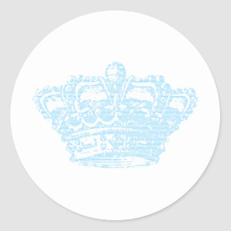 Blue Crown Classic Round Sticker