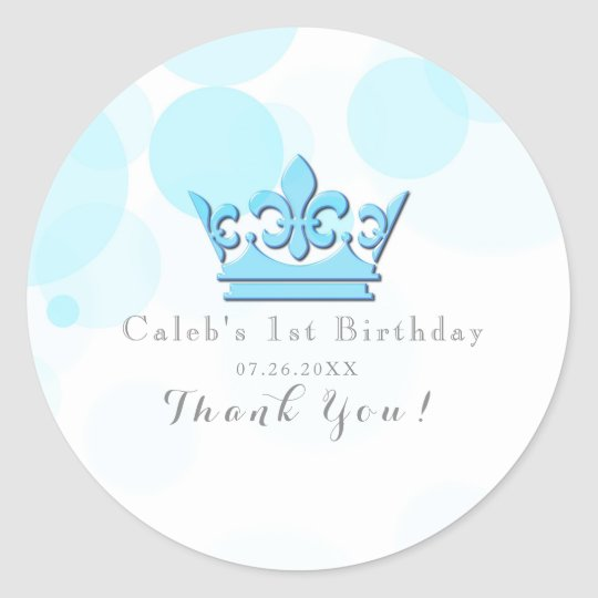 Blue Crown & Dots Royal Birthday Party Favour