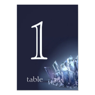 Blue Crystal 15th Anniversary Table Number 13 Cm X 18 Cm Invitation Card
