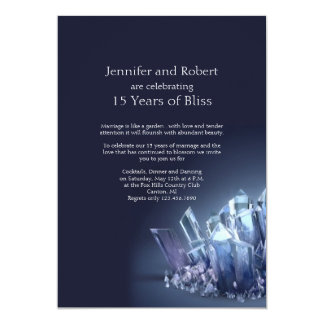 Blue Crystal 15th Wedding Anniversary 13 Cm X 18 Cm Invitation Card