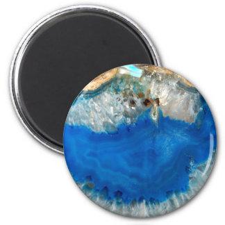blue crystal 6 cm round magnet