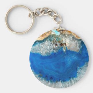 blue crystal basic round button key ring