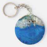 blue crystal basic round button key ring