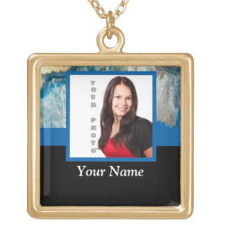 Blue crystal instagram template gold plated necklace