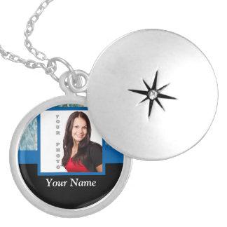 Blue crystal instagram template locket necklace