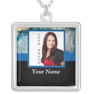 Blue crystal instagram template silver plated necklace