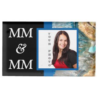 Blue crystal instagram template table card holder