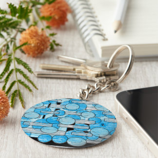 blue crystal key ring