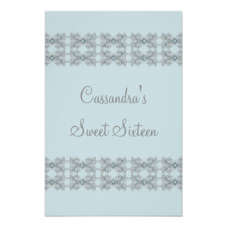 Blue Crystal Lace Sweet Sixteen Poster
