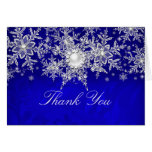 Blue Crystal Pearl Snowflake Silver Thank You Card