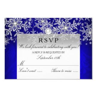 Blue Crystal Pearl Snowflake Silver Winter RSVP 9 Cm X 13 Cm Invitation Card