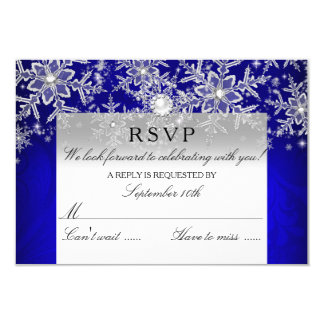 Blue Crystal Pearl Snowflake Silver Winter RSVP Card