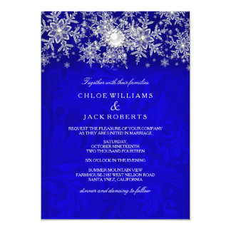 Blue Crystal Pearl Snowflake Silver Winter Wedding 13 Cm X 18 Cm Invitation Card