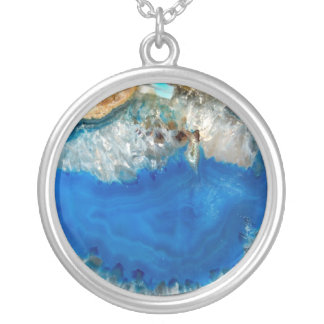 blue crystal silver plated necklace