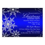 Blue Crystal Snowflake Christmas Dinner Party 13 Cm X 18 Cm Invitation Card