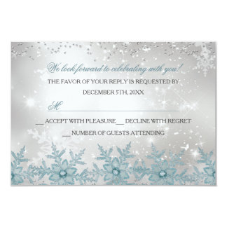 Blue Crystal Snowflake Christmas Party RSVP 9 Cm X 13 Cm Invitation Card