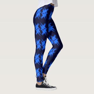 Blue Crystals Digital Artwork Leggings