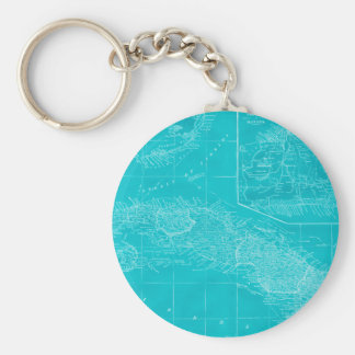 Blue Cuba Map Basic Round Button Key Ring