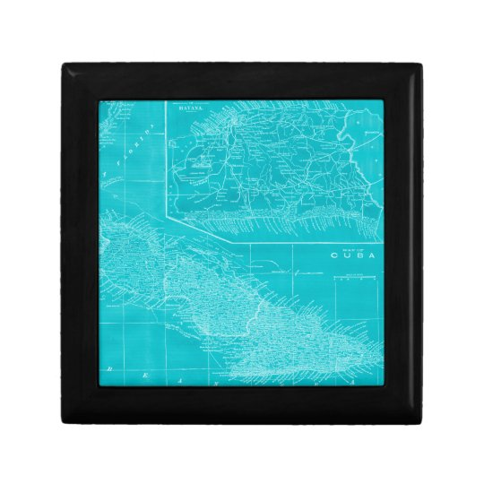 Blue Cuba Map Gift Box
