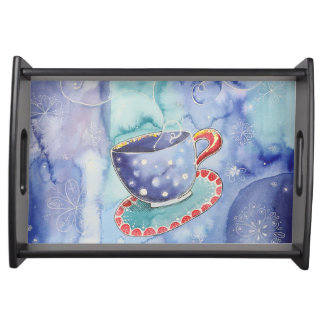 Blue cup serving tray