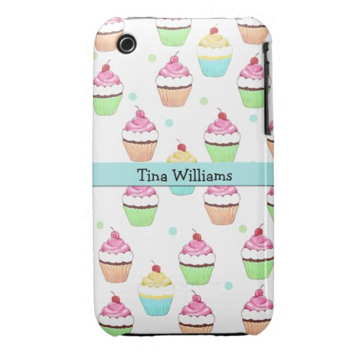 Blue Cupcake iPhone 3 Case