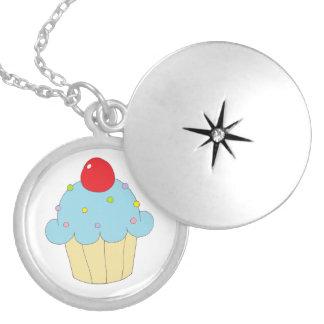 Blue Cupcake Round Locket Necklace
