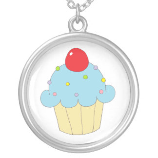 Blue Cupcake Round Pendant Necklace
