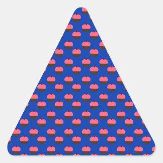 Blue cupcake pattern triangle sticker