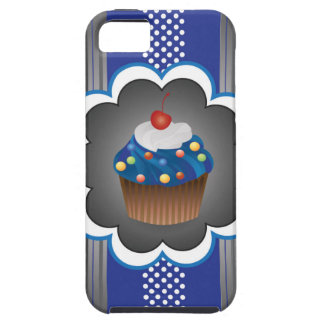 Blue Cupcake Strips/Dot iPhone 5 Covers