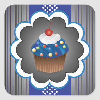 Blue Cupcake Strips/Dot Square Sticker