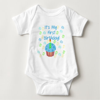 Blue Cupcake with Candle First Birthday Baby Bodysuit