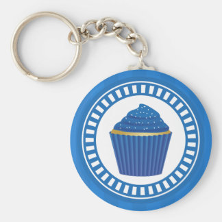 Blue Cupcake with White Sprinkles Basic Round Button Key Ring