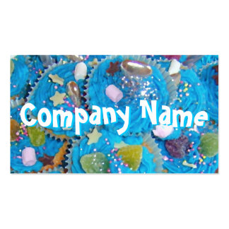 Blue Cupcakes front text business card white