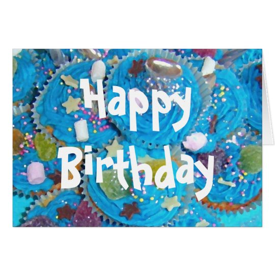 Blue Cupcakes 'Happy Birthday' white card