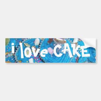 Blue Cupcakes 'I love cake' bumper sticker