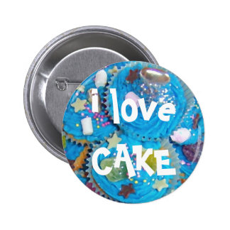 Blue Cupcakes i love CAKE button badge