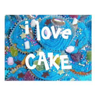Blue Cupcakes 'i love CAKE' postcard