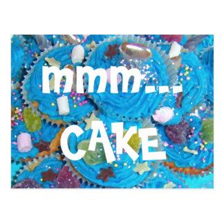 Blue Cupcakes 'mmm... CAKE' postcard