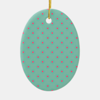 Blue Curacao And Pink Medium Polka Dots Pattern Christmas Ornament