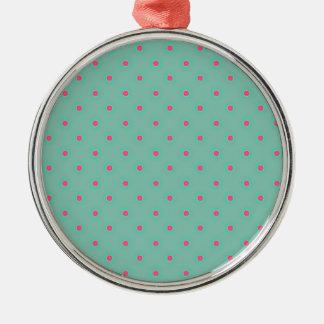 Blue Curacao And Pink Medium Polka Dots Pattern Ornaments