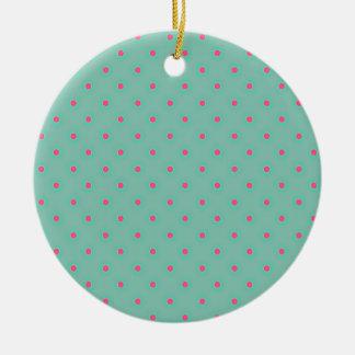 Blue Curacao And Pink Medium Polka Dots Pattern Ornament