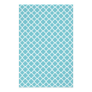 Blue Curacao And White Fleur De Lis Pattern Custom Stationery