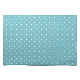 Blue-Curacao And-White-Polka-Dots Place Mats