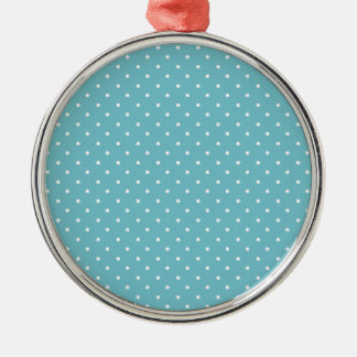 Blue-Curacao And-White-Polka-Dots Silver-Colored Round Decoration