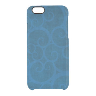 Blue curls lines clear iPhone 6/6S case