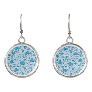 Blue curly hearts earrings